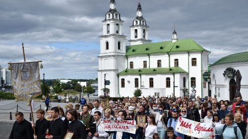 A religious procession held in Minsk amid political unrest in Belarus
