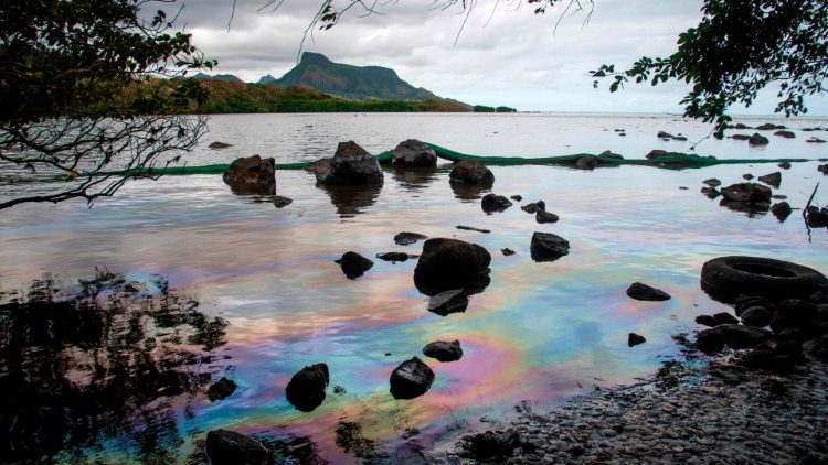 Slicks of crude oil in the ocean surrounding the island of Mauritius