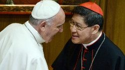 Pope Francis meeting Cardinal Tagle in 2015.