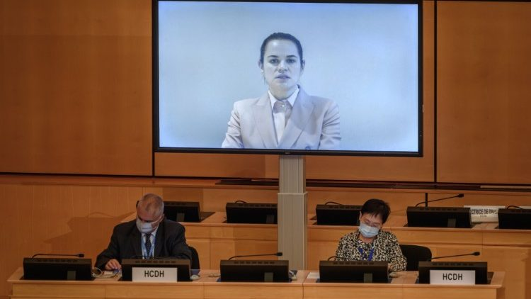 Belarus opposition leader Svetlana Tikhanouvskaya address the UN Human Rights Council