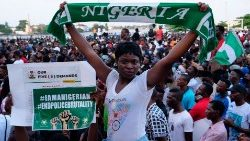 Nigerian youths protesting against police brutality