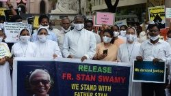Indian Catholic priests and nuns protest against the arrest of Father Stan Swamy.