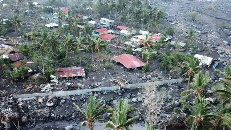 Ravages of Typhoon Goni in Guinobatan town near Mayon Volcano in the Philippines.