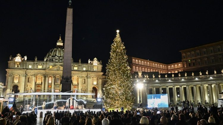 The lighting up of the Christmas tree and Nativity Scene in St Peter's Square