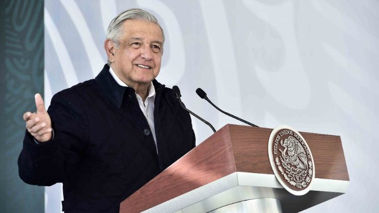 Mexican President Andres Manuel Lopez Obrador delivers a speech on Sunday