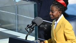 US National youth poet laureate Amanda Gorman during President Biden's inauguration ceremony on 21 January 2021