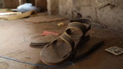 Shoes belonging to students at the site of a recent kidnapping in Nigeria
