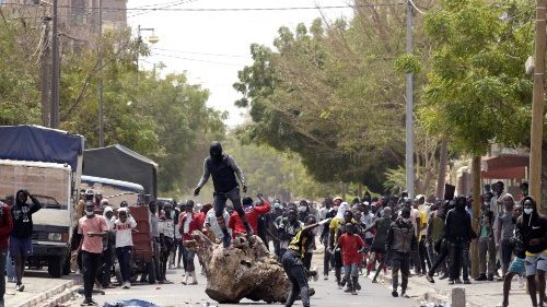 Demonstrators in Dakar, Senegal, barricade a road during a protest against the arrest of opposition leader, Ousmane Sonko