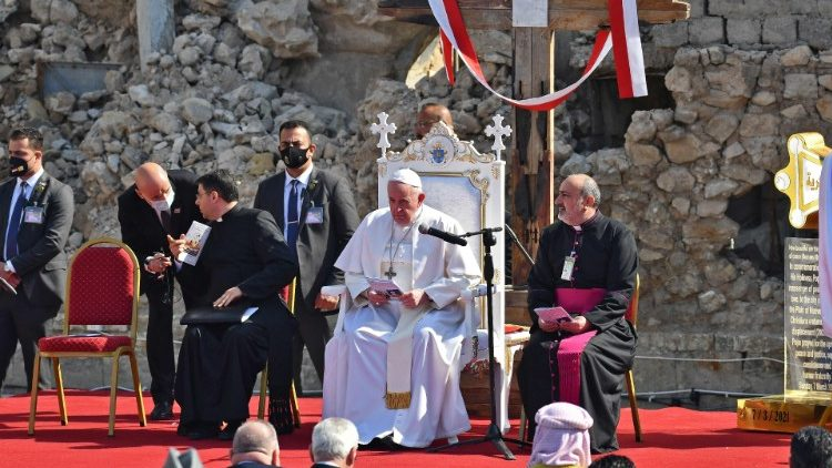 Pope Francis speaks at the ruins if the Syriac Catholic Church of the Immaculate Conception