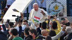Pope Francis at the Franso Hariri stadium in Erbil, where he celebrated Holy Mass with Iraqi faithful on Sunday