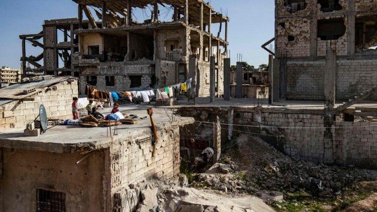 La ville syrienne kurde de Kobane, aussi appelée Ain al-Arab, au nord du gouvernorat d'Alep, le 25 février 2021.