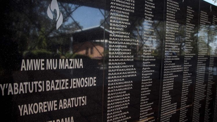 Names of some of the victims of the 1994 genocide at the Ntarama Genocide Memorial in Kigali, Rwanda