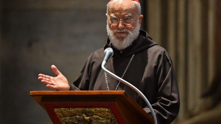 Le cardinal Cantalamessa lors de l'office de la Passion, le Vendredi Saint, 2 avril 2021.