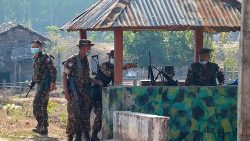 Myanmar soldiers at an outpost in a vilalge in Karen state.