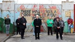 Bishop Noel Treanor (centre) takes part in ecumenical service and walk for peace in Belfast on April 9