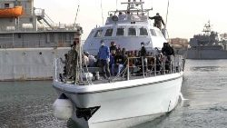 Rescued migrants arrive the naval base in the Libyan Capital, Tripoli