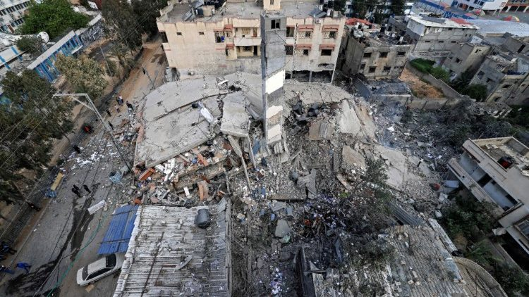 Aerial view shows destruction of six-storey in Gaza City