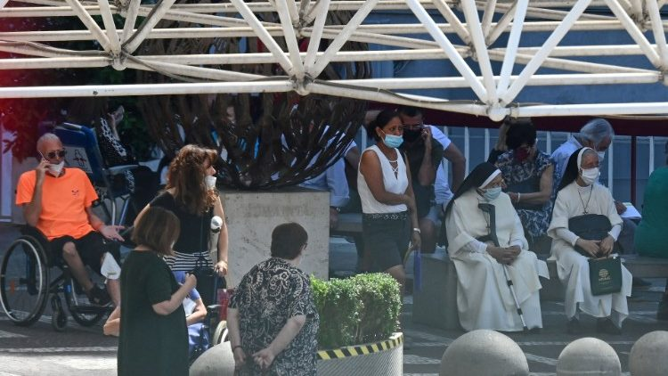 Well-wishers gather outside Rome's Gemelli Hospital where Pope Francis is recovering from surgery