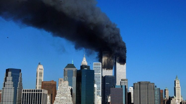 Smoke billowing out of the twin towers of the World Trade Center after the terrorist attacks of Sept. 11, 2001.