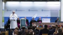 Pope Francis gives a speech at FAO HQ on  World Food Day October 16 2017