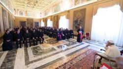 Pope Francis addressing student priests and staff of the Pontifical Pio Brazilian College of Rome, on Oct 21, 2017.