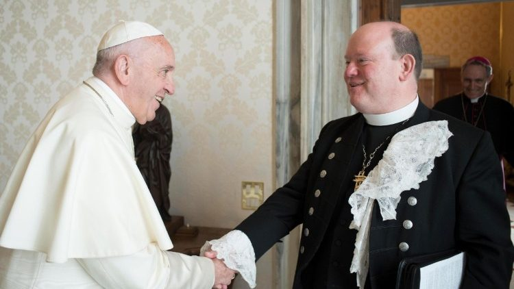Pope Francis meets the Moderator of the Church of Scotland, the Rev. Dr Derek Browning.