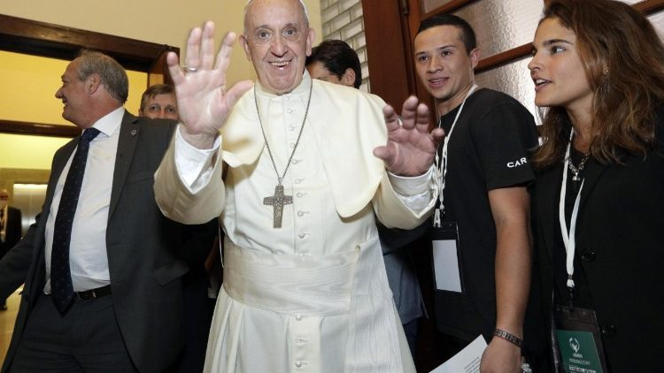 Pope Francis during his visit to the Foundation 'Scholas Occurrentes'