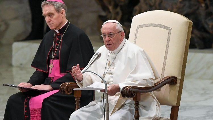 Pope Francis speaks at the Wednesday General Audience