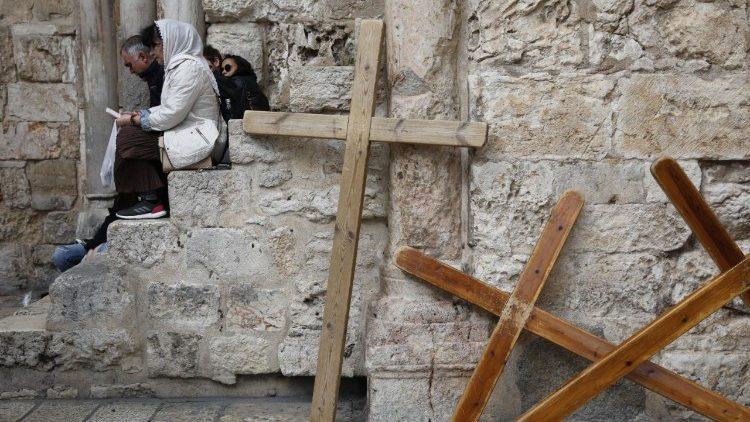 Crosses outside the Holy Sepulcher Church in Jerusalem.