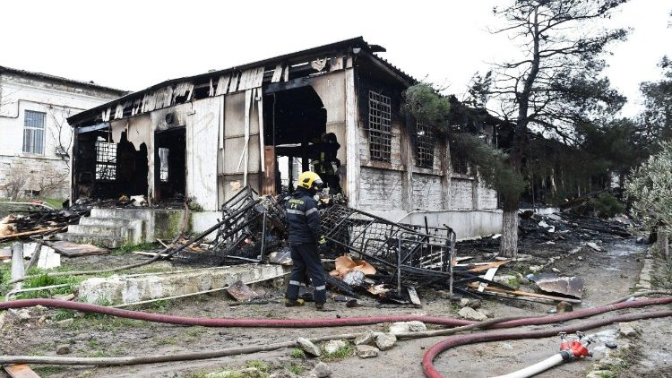 A firefighter at site of the blaze in a drug rehabilitation center in Baku