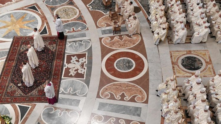 Pope Francis  celebrates a mass for Saint Joseph feast and b
