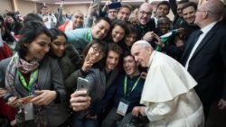 Pope Francis with young participants in the Pre-synodal Meeting in Rome on March 19, 2018.