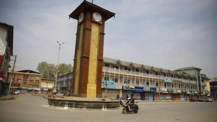 A deserted square in Srinagar, in Indian-ruled Kashmir on April 2, 2018, following shutdown.