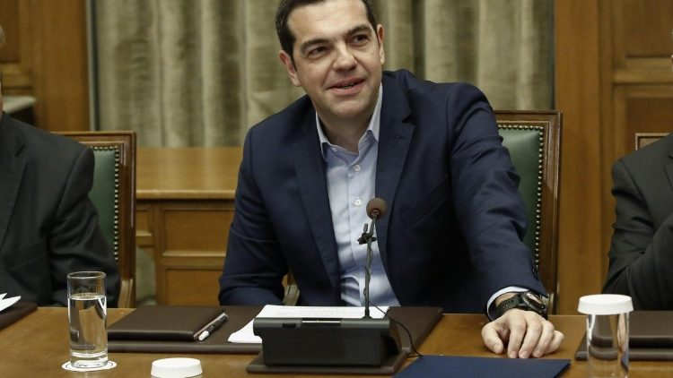 Greek Prime Minister Alexis Tsipras at a cabinet meeting in April 2018
