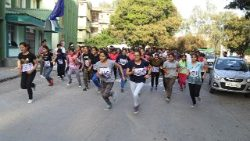 """Run for Fun"" sporting event on the occasion of World Health Day near Dharamsala, India, on April 7, 2018."
