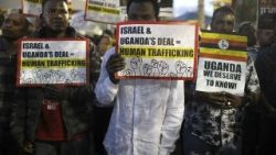 Protest against African asylum seekers deportation in Tel Aviv