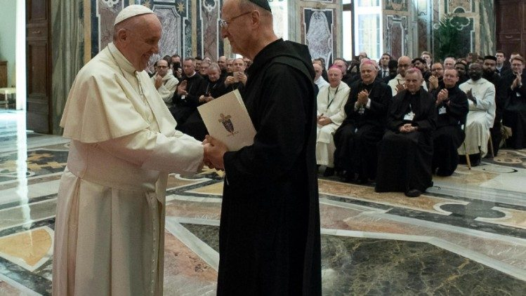 Pope Francis meeting Abbot Primate Gregory Polon along with representatives of the Benedectine Confederation, April 19, 2018.