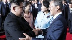 South Korean President Moon Jae-in says goodbye to North Korean leader Kim Jong-un at the end of their summit on Friday