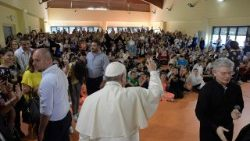 Pope Francis during his visit at the Elisa Scala school in Rome