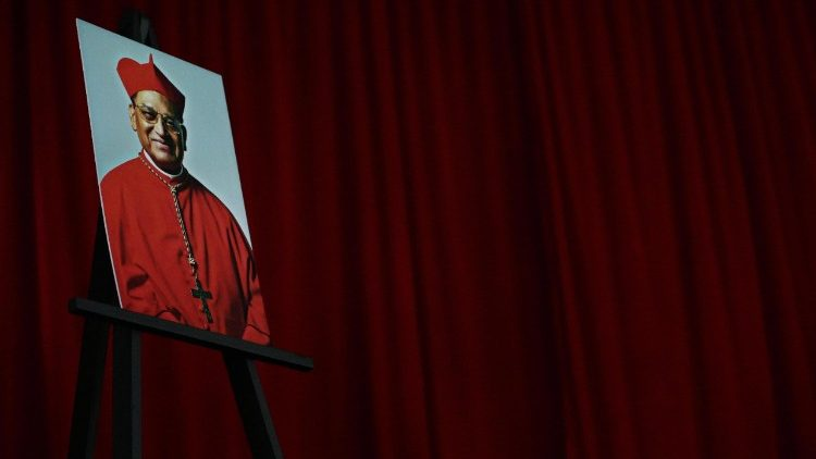 A portrait of Cardinal Miguel Obando Bravo displayed at his funeral in Managua