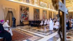 Pope Francis meeting the Theatine Sisters of the Immaculate Conception in the Vatican on June 16, 2018.