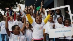 Corazon de Jolie choir made up of refugee children performing in Sao Paulo, Brazil