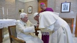 Pope Francis with new cardinals meets Pope Emeritus