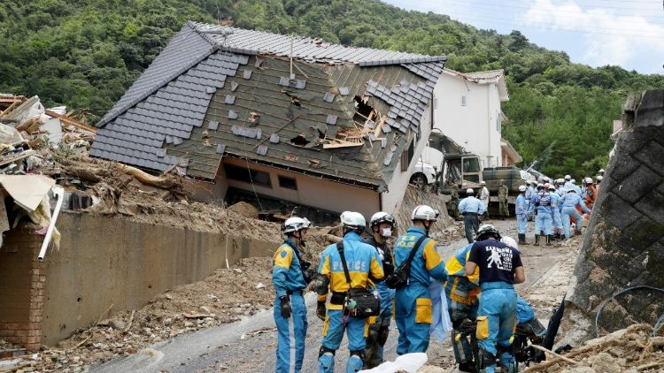 Damage sustained in flooding in Japan