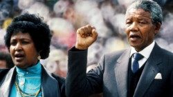 (FILE) Former South African President Nelson Mandela with his wife Winnie Mandela on 13 Feb 1990.  On 8 May, 2019 South Africans go to the polls again.