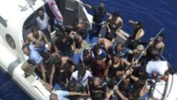 Turkish coast guards save survivor refugees after their boat sunk of the coast