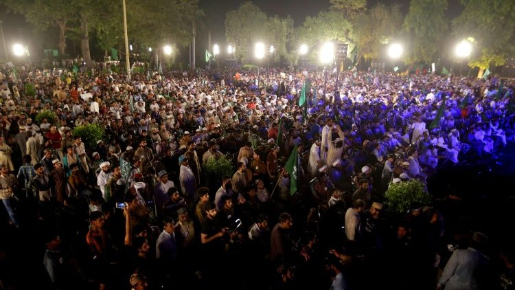 A political rally in Lahore ahead of the July 25 general elections in Pakistan.