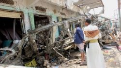 Aftermath of a Saudi-led airstrike killed at least 50 Yemenis