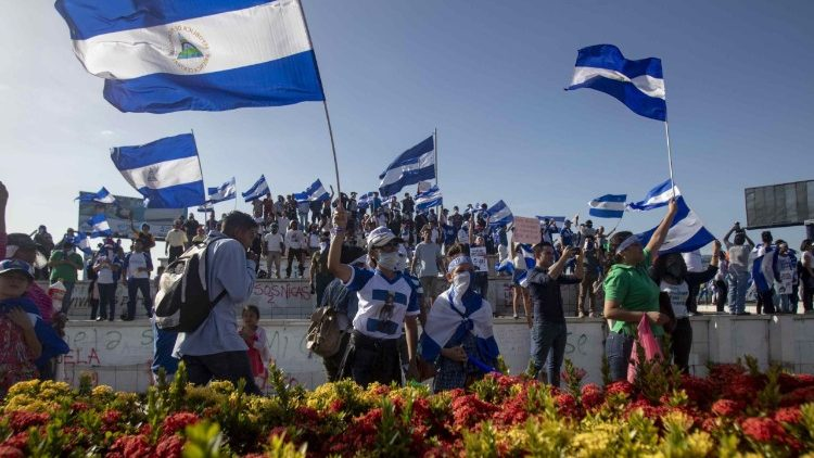 Nicaraguans protest in Managua on Saturday