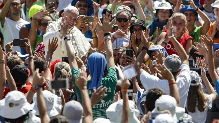 Pope Francis meets young people during his apostolic visit to Lithuania